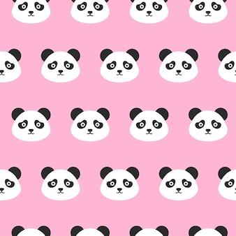Panda głowy wzór. ilustracja wektorowa ładny uśmiechający się głowy zwierząt.