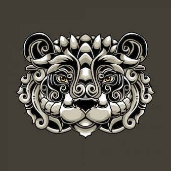 Panda head ornate illutration