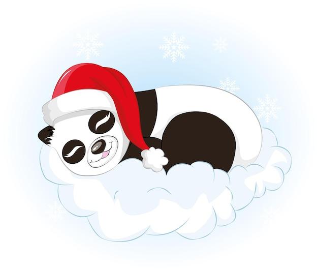 Panda i chmura z santa hat tło. ilustracja kreskówka niedźwiedź wektor dla dzieci i tła bożego narodzenia.