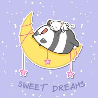 Panda i kot śpią na księżycu.