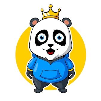 Panda król, ilustracja wektorowa logo e-sport maskotka