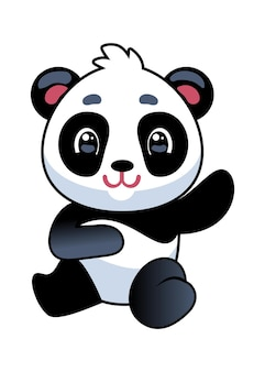 Panda. ładny azjatycki adorable niedźwiedź siedzenia, chińska maskotka dla dzieci, dzikość lub zoo kawaii zwierząt, prosta ikona lub projekt logo, tropikalny czarno-biały płaski kreskówka wektor na białym tle znaków dla dzieci ilustracja