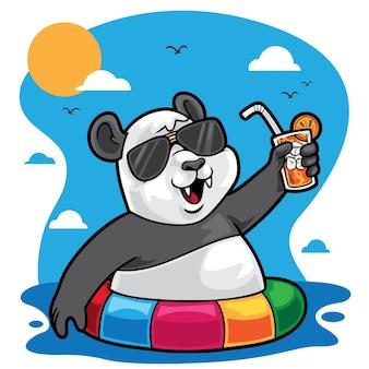 Panda lato morze ilustracja