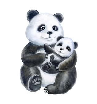 Panda mama i dziecko