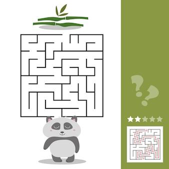Panda maze game - pomóż głodnej pandzie znaleźć właściwą drogę do bambusa - puzzle labiryntowe z rozwiązaniem