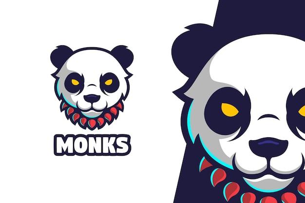 Panda Mnich Logo Maskotka Postać Premium Wektorów