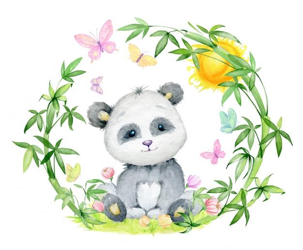 Panda, otoczona bambusowymi gałęziami. akwarela koncepcja, panda, bambus.