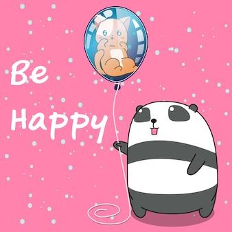 Panda trzyma kota w balonie.
