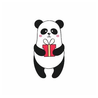 Panda trzyma prezent na urodziny. ilustracja kreskówka świąteczna dla dzieci. zabawna naklejka na posty w sieciach społecznościowych i internecie. rysunek pandy na białym tle