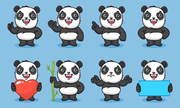 Panda trzyma prezenty i punkty z bambusa w kształcie serca. ilustracja wektorowa. postać maskotki.