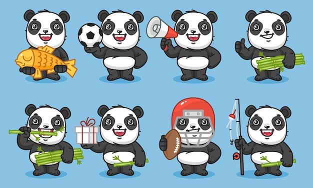 Panda trzyma rybę piłka nożna piłka megafon bambus prezent wędka ilustracja wektorowa