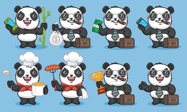 Panda trzyma telefon bambusowe pieniądze walizka kubek posiłek. ilustracja wektorowa. postać maskotki.