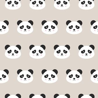 Panda twarze wzór. ilustracja wektorowa ładny uśmiechający się głowy zwierząt.