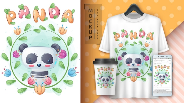 Panda w kwiecie. plakat i merchandising