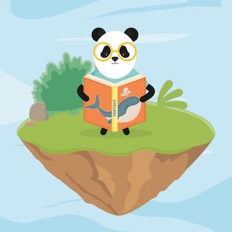 Panda w okularach czyta bajkową książkę fantasy