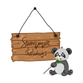Panda w pobliżu drewnianego szyldu z napisem