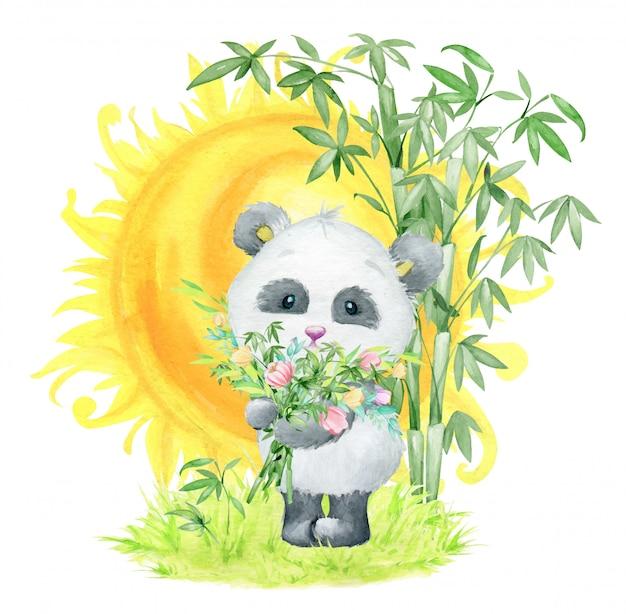 Panda z bukietem bambusowych gałęzi i kwiatów, stojąca na tle