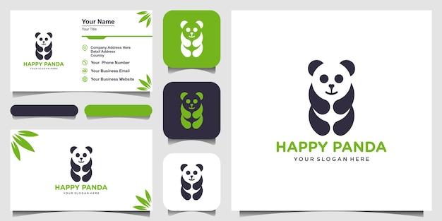 Panda z ilustracja logo linii sztuki