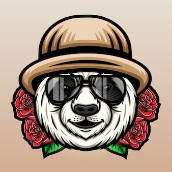 Panda z kapeluszem i różą.
