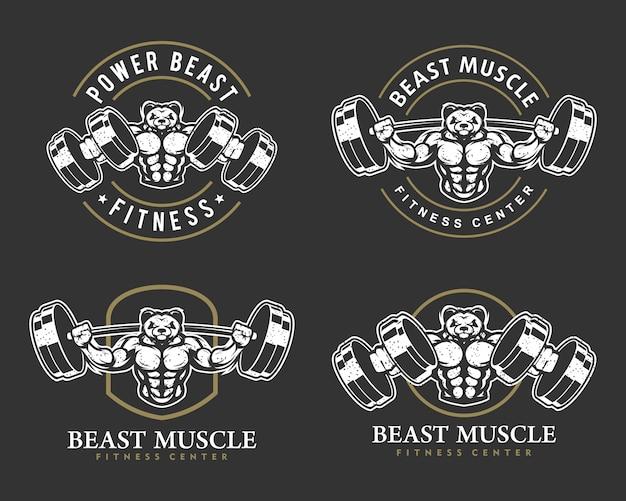 Panda z mocnym ciałem, zestawem logo klubu fitness lub siłowni.
