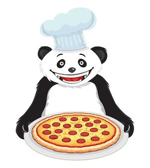 Panda z pizzą