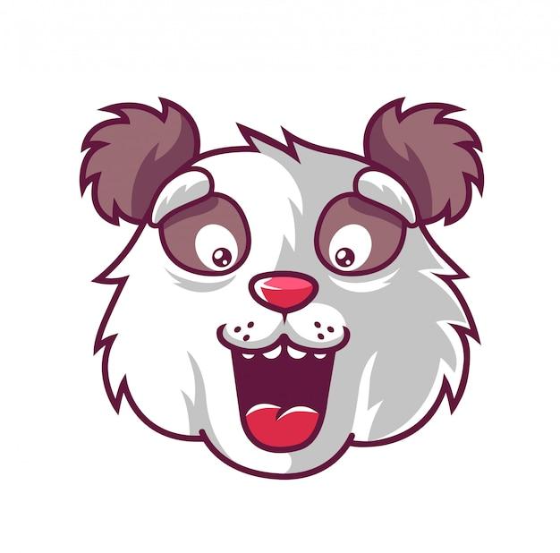 Panda zabawy panda, która jest mile zaskoczona.