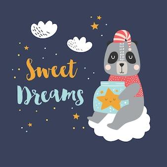 """Panda ze słoiczkiem z gwiazdą, chmurkami i cytatem """"sweet dreams""""."""