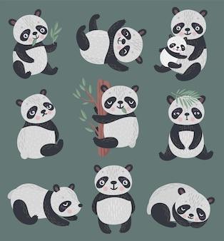 Panda zestaw ręcznie rysowane stylu