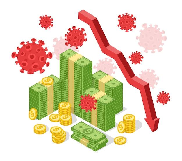 Pandemia globalnego kryzysu gospodarczego spadek wykres strzałkowy załamanie finansowe z powodu koronawirusa covid-19