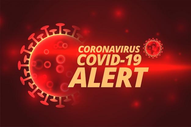 Pandemia koronawirusa covid-19 rozprzestrzeniła się na czerwonym tle alarmowym