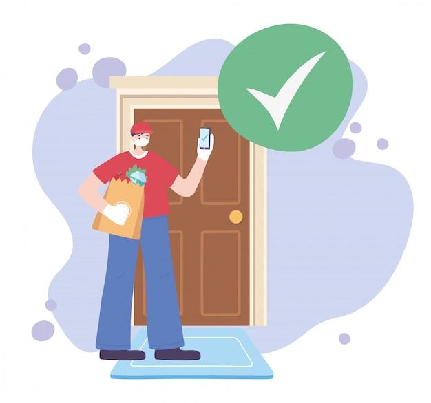 Pandemia koronawirusa, usługa dostawy, człowiek dostawy z telefonem komórkowym i torbą rynkową w drzwiach znacznik wyboru, nosić ochronną maskę medyczną