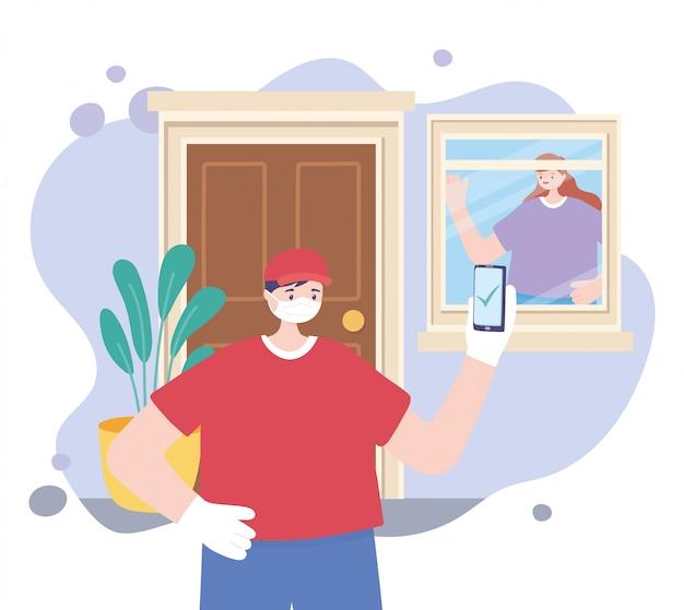 Pandemia koronawirusa, usługa dostawy, człowiek dostawy ze smartfonem i klientem w domu, nosić ochronną maskę medyczną