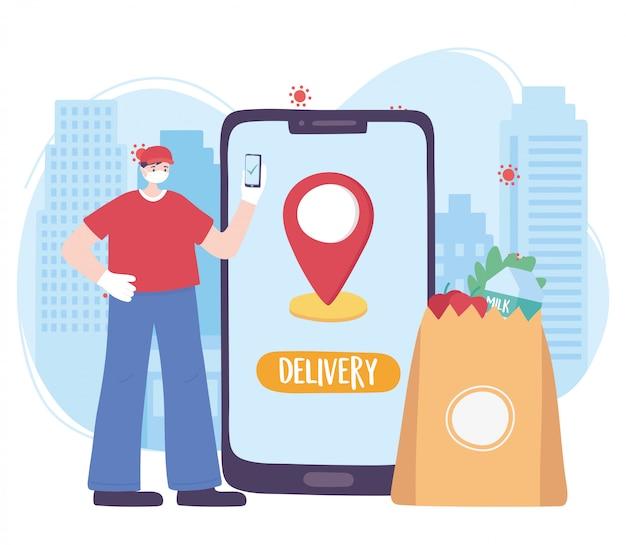 Pandemia koronawirusa, usługa dostawy, dostawca z mobilnym rynkiem online, nosić ochronną maskę medyczną