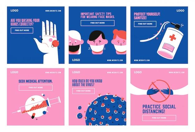 Pandemia zdrowia medyczna covid 19 zasad zapobiegania szablonowi kolekcji postów w mediach społecznościowych