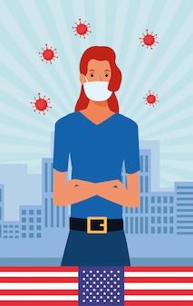 Pandemiczne cząstki covid19 z flagą usa i kobietą używającą maski na twarz