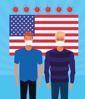 Pandemiczne cząstki covid19 z flagą usa i mężczyzn używających masek na twarz