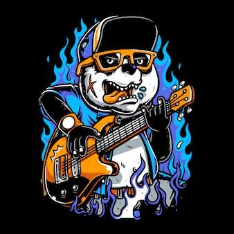 Pandy w czapkach grających na gitarze