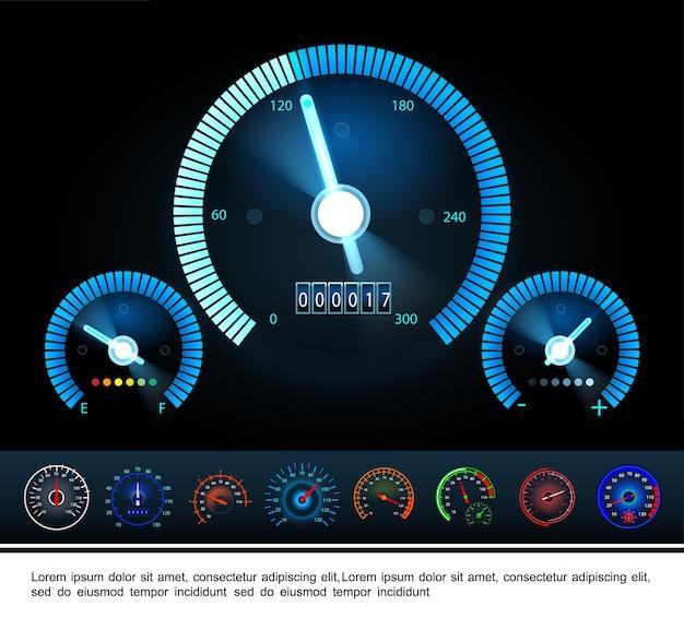 Panel deski rozdzielczej samochodu z obrotomierzem ze wskaźnikiem poziomu paliwa i kolorowymi prędkościomierzami w ciemności
