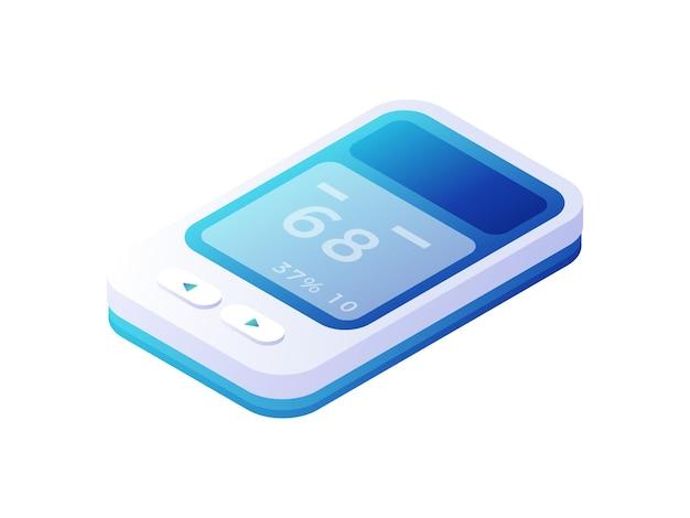 Panel kontrolny analizatora medycznego izometryczny. plastikowe niebieskie urządzenie elektroniczne z białymi panelami. narzędzie do zarządzania nowoczesną aparaturą naukową do analiz biochemicznych i mikrobiologicznych.