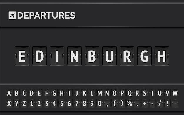 Panel lotniska ogłasza odloty do miejsca docelowego w europie.