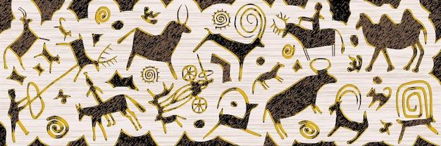 Panel o tematyce etnicznej, seria petroglifów, malowidła naskalne azji środkowej