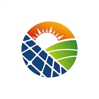 Panel słoneczny energia elektryczna energia elektryczna logo wektor