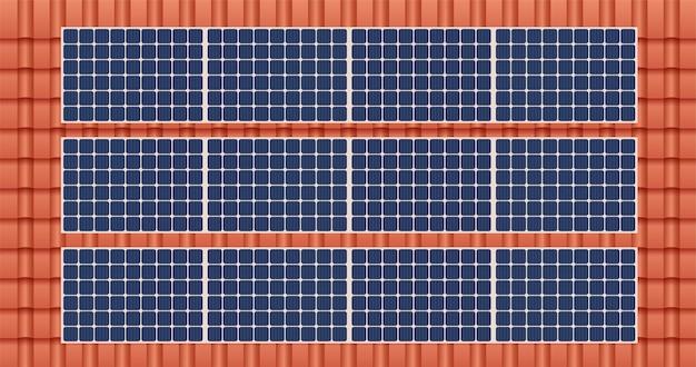 Panel słoneczny na dachu domu, koncepcja zrównoważonych zasobów, projekt ilustracji wektorowych.
