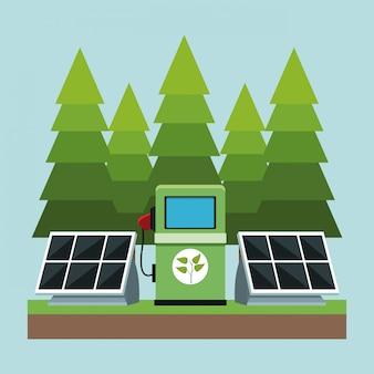 Panele słoneczne i stacja elektryczna