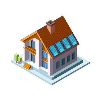 Panele słoneczne na dachu. panele fotowoltaiczne zielone eko energii słonecznej gospodarki wektor izometryczny dom. panel słoneczny, energia alternatywna ilustracja energii elektrycznej