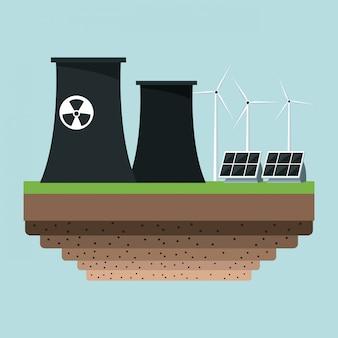 Panele słoneczne w elektrowni jądrowej