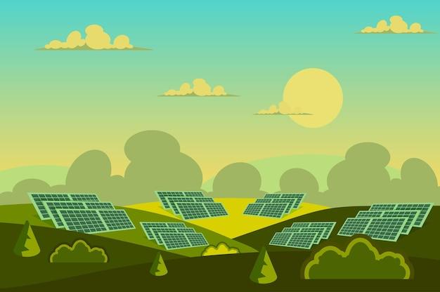 Panele słoneczne w krajobrazie pola w stylu płaskiej kreskówki