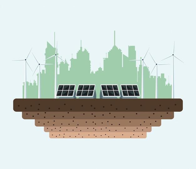 Panele słoneczne w mieście energii elektrycznej