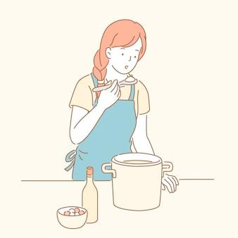 Pani degustacja zupy w stylu ręcznie rysowane linii