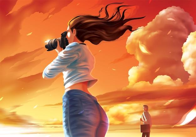 Pani fotograf robi zdjęcie pięknego zachodu słońca, a dalszy mężczyzna kradnie jej spojrzenie